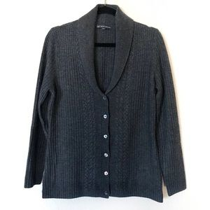 Brooks Brothers Charcoal Cable Knit Button Sweater
